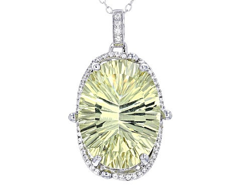 14.03ct Oval Canary Yellow Quartz With .30ctw Round White Zircon Sterling Silver Pendant With Chain