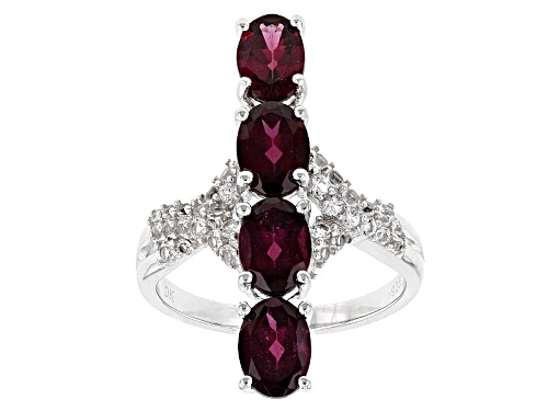Photo of 3.41ctw Oval Raspberry color Rhodolite With .47ctw Round White Topaz Sterling Silver 4-Stone Ring - Size 5