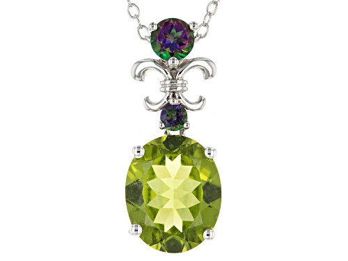 Photo of 3.57ct Oval Manchurian Peridot™ And .34ctw Round Green Mystic Topaz® Silver Pendant With Chain