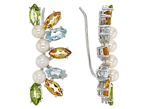 4-4.5mm Cultured White Freshwater Pearl With 7.15ctw Marquise Multi-Gem Silver Climber Earrings
