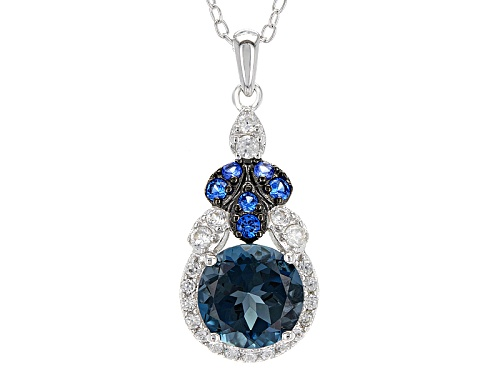 Photo of 2.03ct London Blue Topaz, .15ctw Lab Blue Spinel And .27ctw White Zircon Silver Pendant With Chain