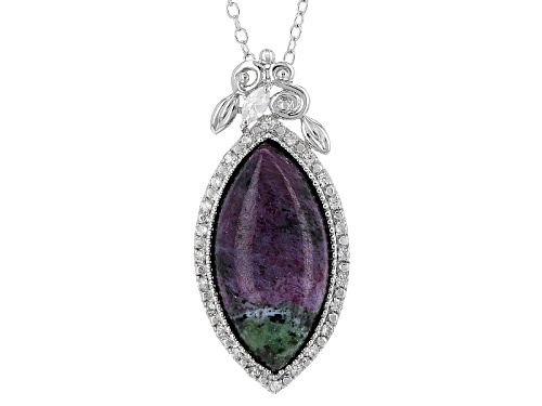 Photo of 20x10mm Marquise Cabochon Ruby Zoisite And .30ctw Round White Zircon Silver Pendant With Chain