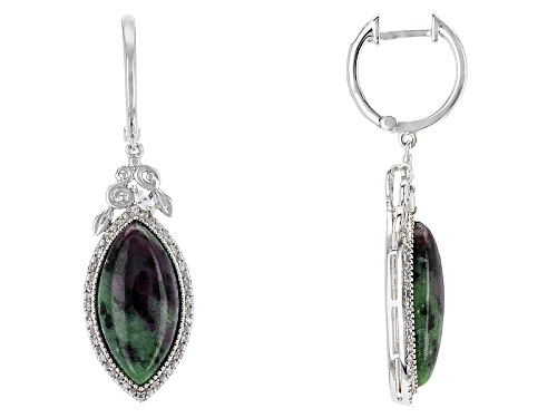 Photo of 18x9mm Marquise Cabochon Ruby Zoisite And .45ctw Mixed Shape White Zircon Silver Earrings