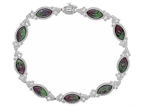 Photo of 10x5mm Marquise Cabochon Ruby Zoisite And .61ctw Marquise White Zircon Silver Bracelet - Size 8