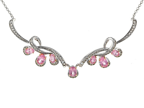 Photo of 2.13ctw Oval Pink Spinel And .77ctw Round White Zircon Sterling Silver Necklace - Size 18