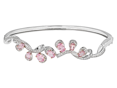 Photo of 2.13ctw Oval Pink Spinel And .74ctw Round White Zircon Sterling Silver Bangle Bracelet - Size 7.5