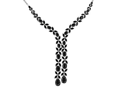 Photo of 31.18ctw Pear Shape, Oval And Marquise Black Spinel Sterling Silver Sliding Adjustable Necklace - Size 18