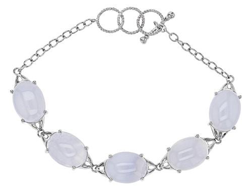 Photo of 16x12mm Oval Cabochon Blue Chalcedony Sterling Silver 5-Stone Bracelet - Size 7.25
