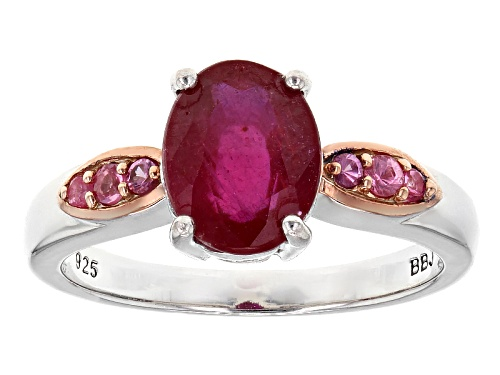 Photo of 2.38ct Oval Mahaleo® Ruby With .09ctw Round Burmese Pink Spinel Sterling Silver Ring - Size 11