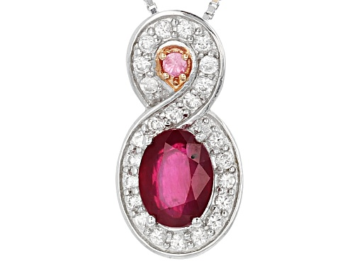 Photo of 1.55ct Oval Mahaleo® Ruby With .46ctw White Zircon And .03ct Pink Spinel Silver Slide With Chain