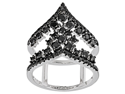Photo of 1.79ctw Round Black Spinel Sterling Silver Open Chevron Band Ring - Size 7