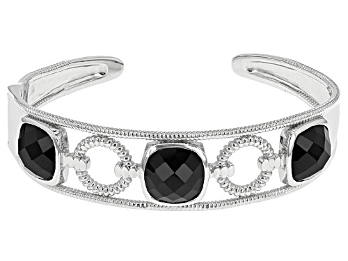 Photo of 26.50ctw Square Cushion Black Spinel Sterling Silver Cuff Bracelet - Size 8