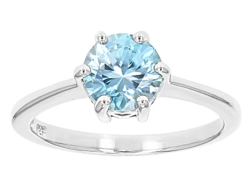 Photo of 1.50ct Round Blue Zircon Sterling Silver Solitaire Ring - Size 12