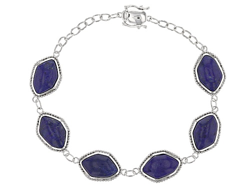 Photo of 14x9mm Free-Form Lapis Lazuli Sterling Silver Bracelet - Size 7.25