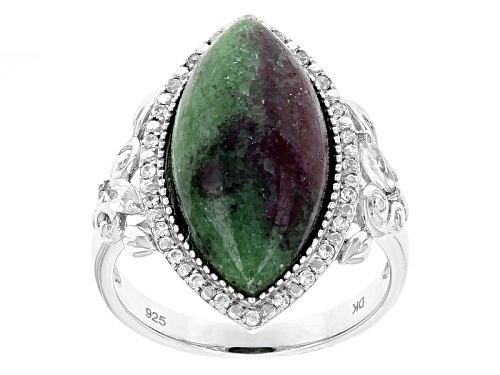 Photo of 20x10mm Marquise Cabochon Ruby Zoisite & .34ctw Marquise & Round White Zircon Silver Ring - Size 7