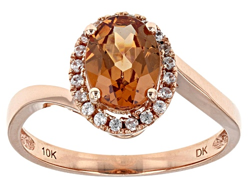Photo of 1.28ct Oval Malaya Garnet With .14ctw Round White Zircon 10k Rose Gold Ring - Size 7