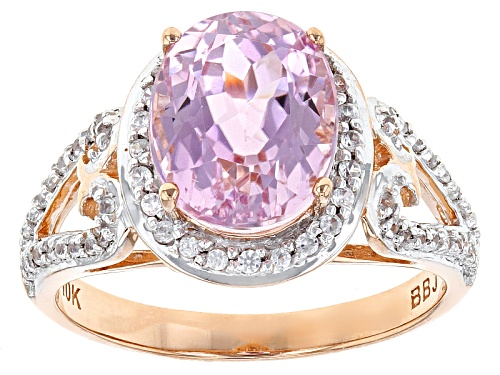 Photo of 2.70ct Oval Pink Kunzite With .27ctw Round White Zircon 10k Rose Gold Ring. - Size 8