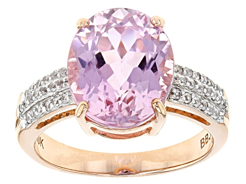 Photo of 4.75ct Oval Pink Kunzite And .16ctw Round White Zircon 10k Rose Gold Ring. - Size 7