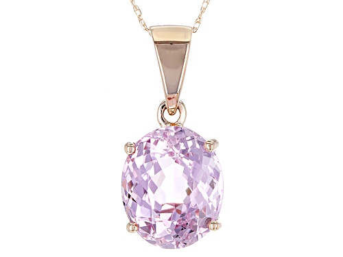Photo of 4.75ct Oval Pink Kunzite 10k Rose Gold Solitaire Pendant With Chain.