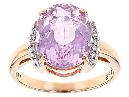 Photo of 5.35ct Oval Pink Kunzite And .08ctw Round White Zircon 10k Rose Gold Ring. - Size 8