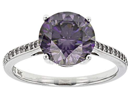 Photo of 3.69ct Purple Fabulite Strontium Titanate With .16ctw White Zircon 10k White Gold Ring. - Size 10