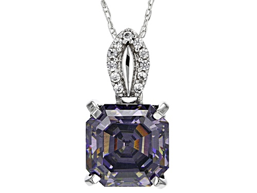 Photo of 3.46ct  Purple Fabulite Strontium Titanate & .07ctw White Zircon 10k White Gold Pendant