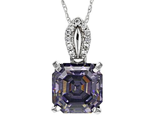 Photo of 3.46ct  Purple Fabulite Strontium Titanate & .07ctw White Zircon 10k White Gold Pendant