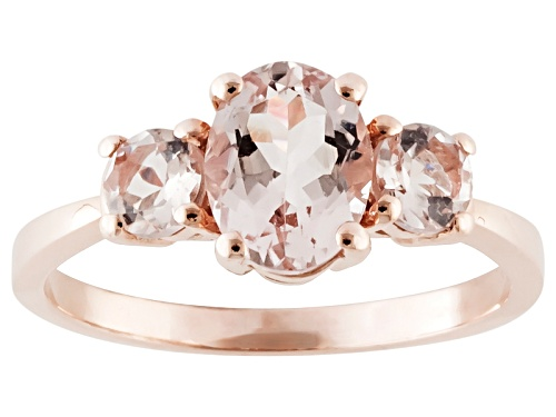 Photo of 1.30ctw Oval And Round Cor-De-Rosa Morganite™ 10k Rose Gold Ring - Size 12