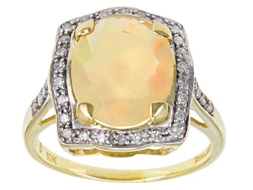 Photo of 1.87ct Oval Ethiopian Opal With .20ctw Round White Diamond 10k Yellow Gold Ring - Size 9.5