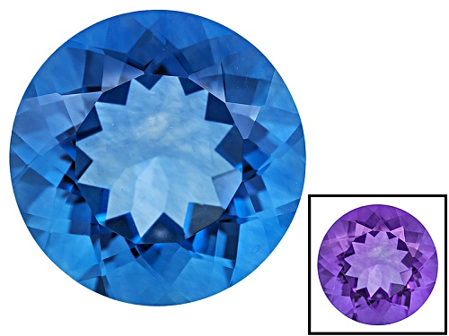 Photo of Color Change Blue Fluorite Minimum 16.00ct 16mm Round Mixed Cut