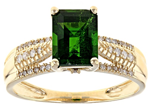 Photo of 1.16ct Emerald Cut Chrome Diopside With .15ctw Round White Diamond 14k Yellow Gold Ring - Size 8