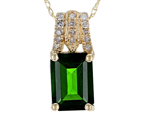 Photo of 1.22ct Emerald Cut Chrome Diopside and .05ctw White Diamond Accent 14k Yellow Gold Pendant W/Chain