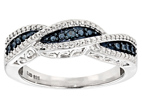 Photo of Blue Velvet Diamond™ Round Diamond Accent Rhodium Over Sterling Silver Ring - Size 8