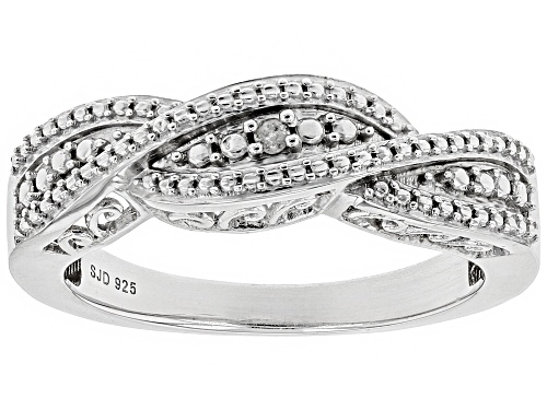 Photo of Round White Diamond Accent Rhodium Over Sterling Silver Ring - Size 7