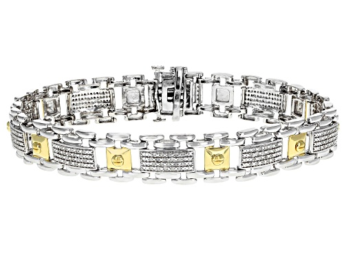 Photo of .50ctw Round White Diamond Rhodium over Sterling Silver with 14k Yellow Gold Accents Mens Bracelet - Size 8.5