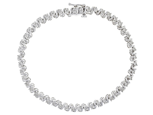 Photo of .50ctw Round White Diamond Rhodium over Sterling Silver Bracelet - Size 7.5
