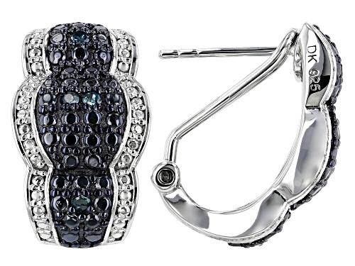 Photo of 0.12ctw Round Blue Velvet Diamond ™ Rhodium Over Sterling Silver Earrings