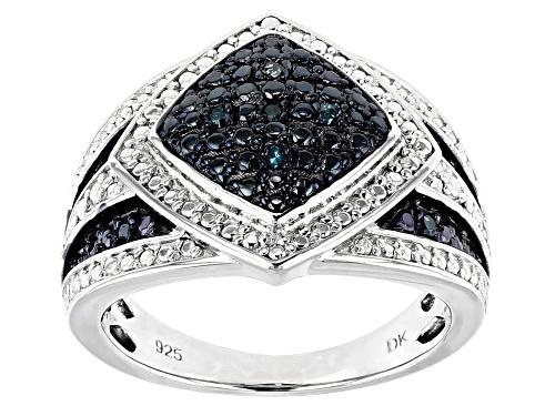 Photo of .10ctw Round Blue Velvet Diamond™ Rhodium over Sterling Silver Ring - Size 4