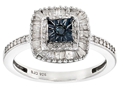 Photo of 0.55ctw Baguette And Round Blue Velvet Diamond™ And White Diamond Rhodium Over Sterling Silver Ring - Size 7