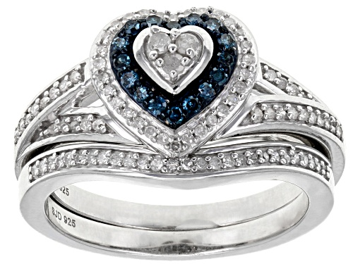 Photo of 0.40ctw Round Blue Velvet™ And White Diamond Rhodium Over Sterling Silver Ring - Size 8