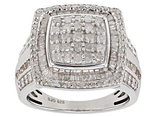 Photo of 1.70ctw Baguette And Round White Diamond Rhodium Over Sterling Silver Ring - Size 8