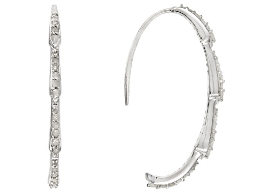Photo of .58ctw Round White Diamond Rhodium over Sterling Silver Earrings