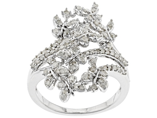 Photo of .54ctw Round White Diamond Rhodium over Sterling Silver Ring - Size 7