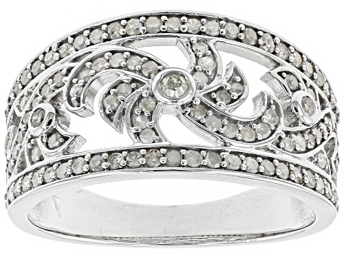 Photo of 0.63ctw Round White Diamond Rhodium Over Sterling Silver Ring - Size 7