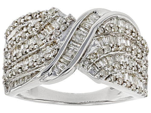 Photo of 1.33ctw Baguette And Round Diamond Rhodium Over Sterling Silver Ring - Size 8