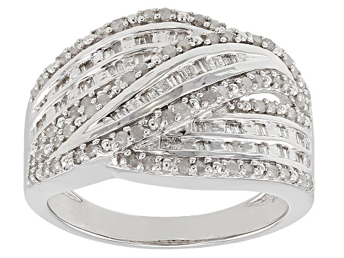 Photo of 0.53ctw Round & Baguette White Diamond Rhodium Over Sterling Silver Ring - Size 7