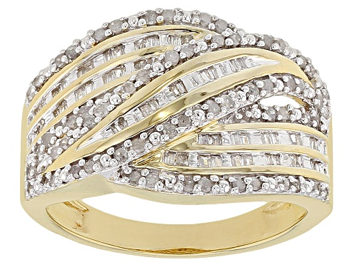 Photo of Engild™ 0.53ctw Round & Baguette White Diamond 14K Yellow Gold Over Sterling Silver Ring - Size 6