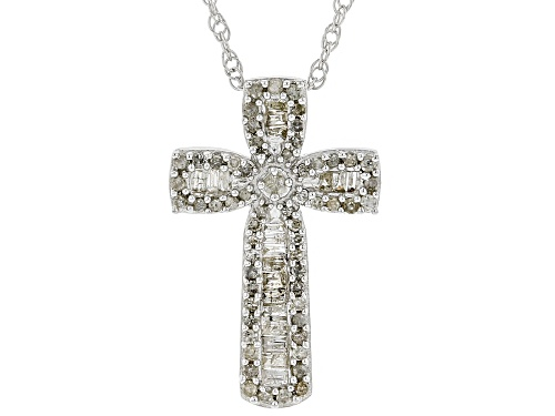 Photo of 0.50ctw Round And Baguette White Diamond Rhodium Over Sterling Silver Pendant With 18 Inch Chain
