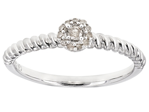 Round White Diamond Accent Rhodium Over Sterling Silver Ring - Size 9