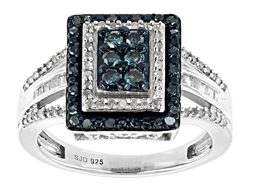 Photo of Blue Velvet Diamonds® .60ctw Blue And White Diamond Rhodium Over Sterling Silver Ring - Size 6